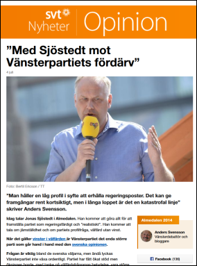 Anders Svenssons artikel på SVT Opinion